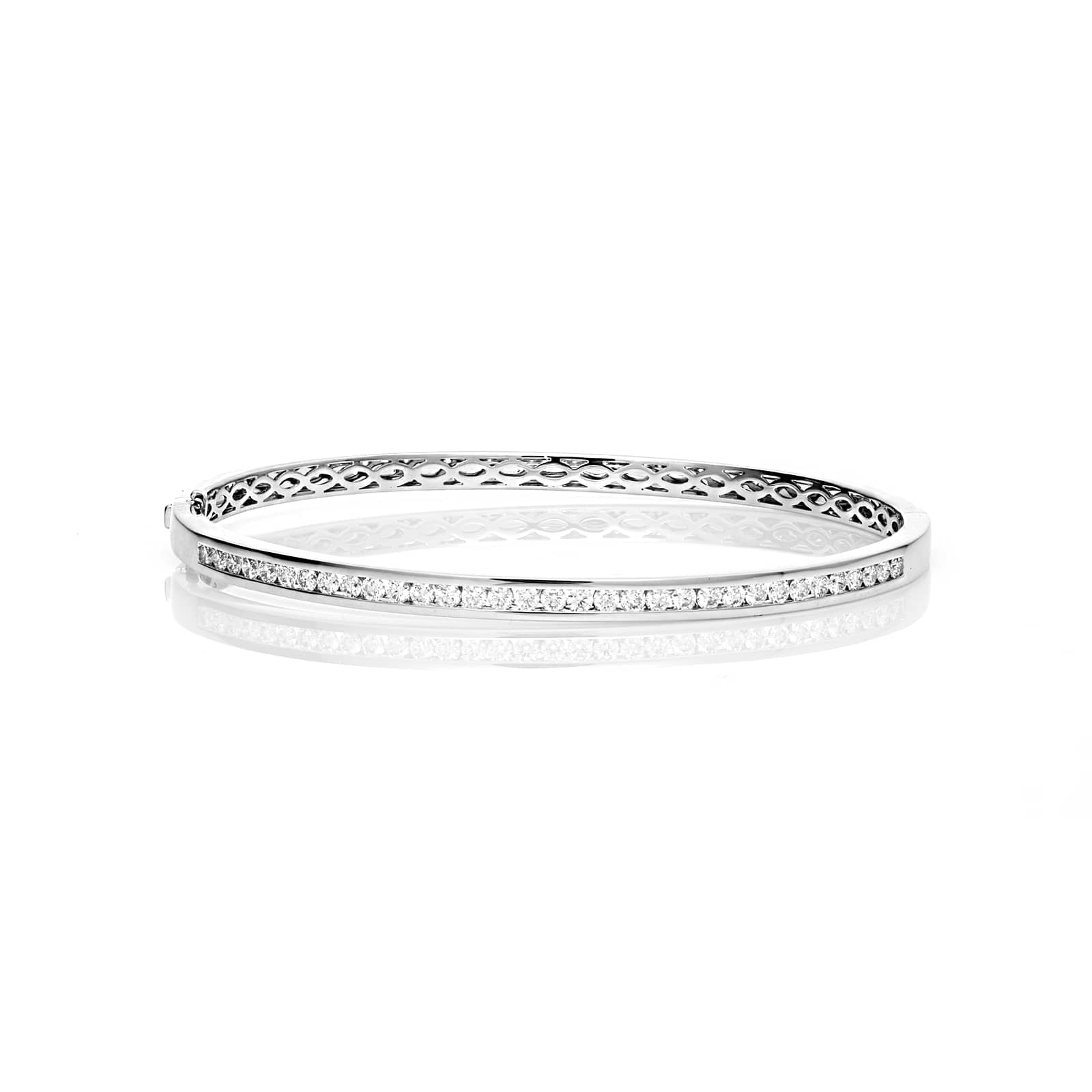 Mayors 18ct White Gold 1.00ct Channel Set Bangle