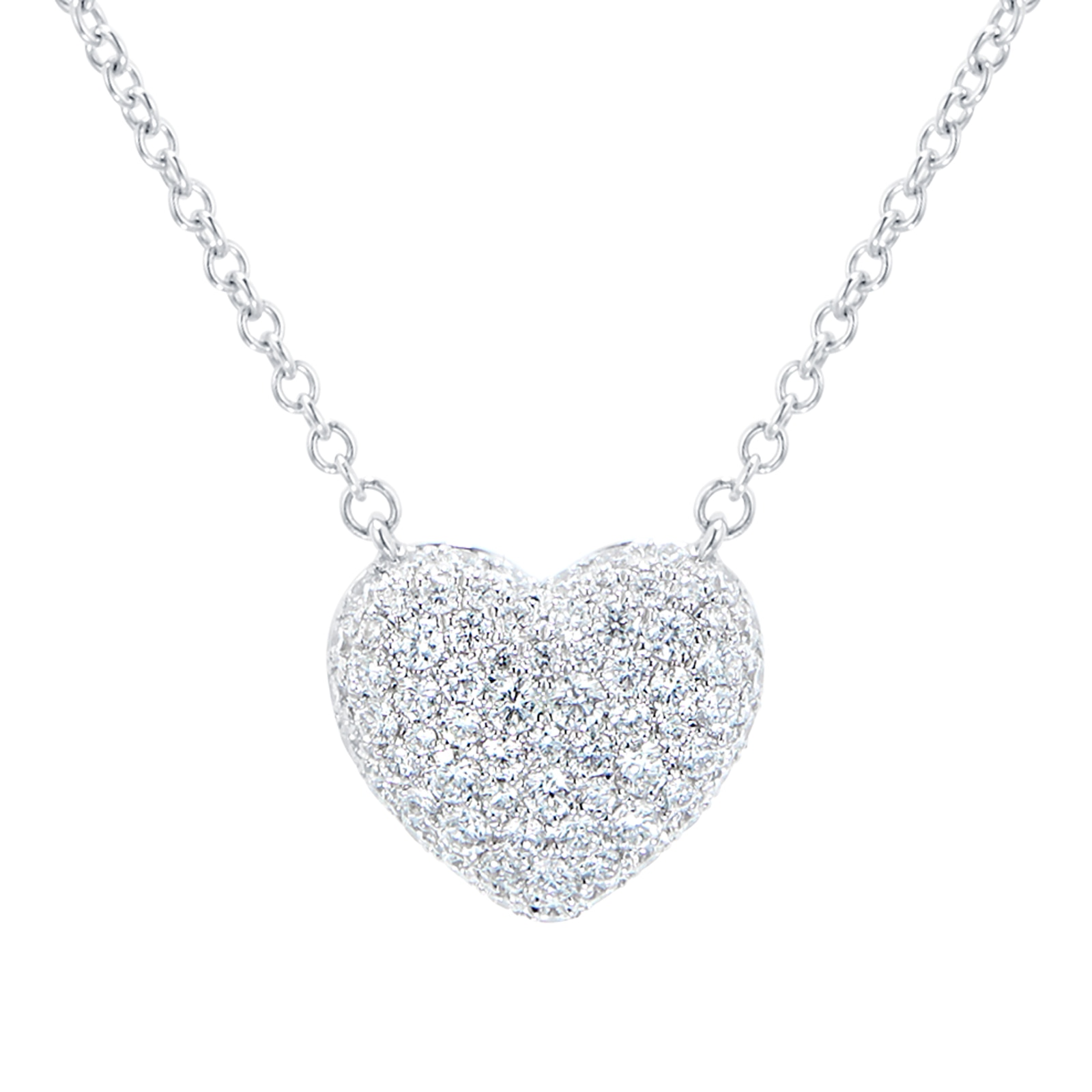 Mayors 18ct White Gold 0.50ct Pave Heart Pendant
