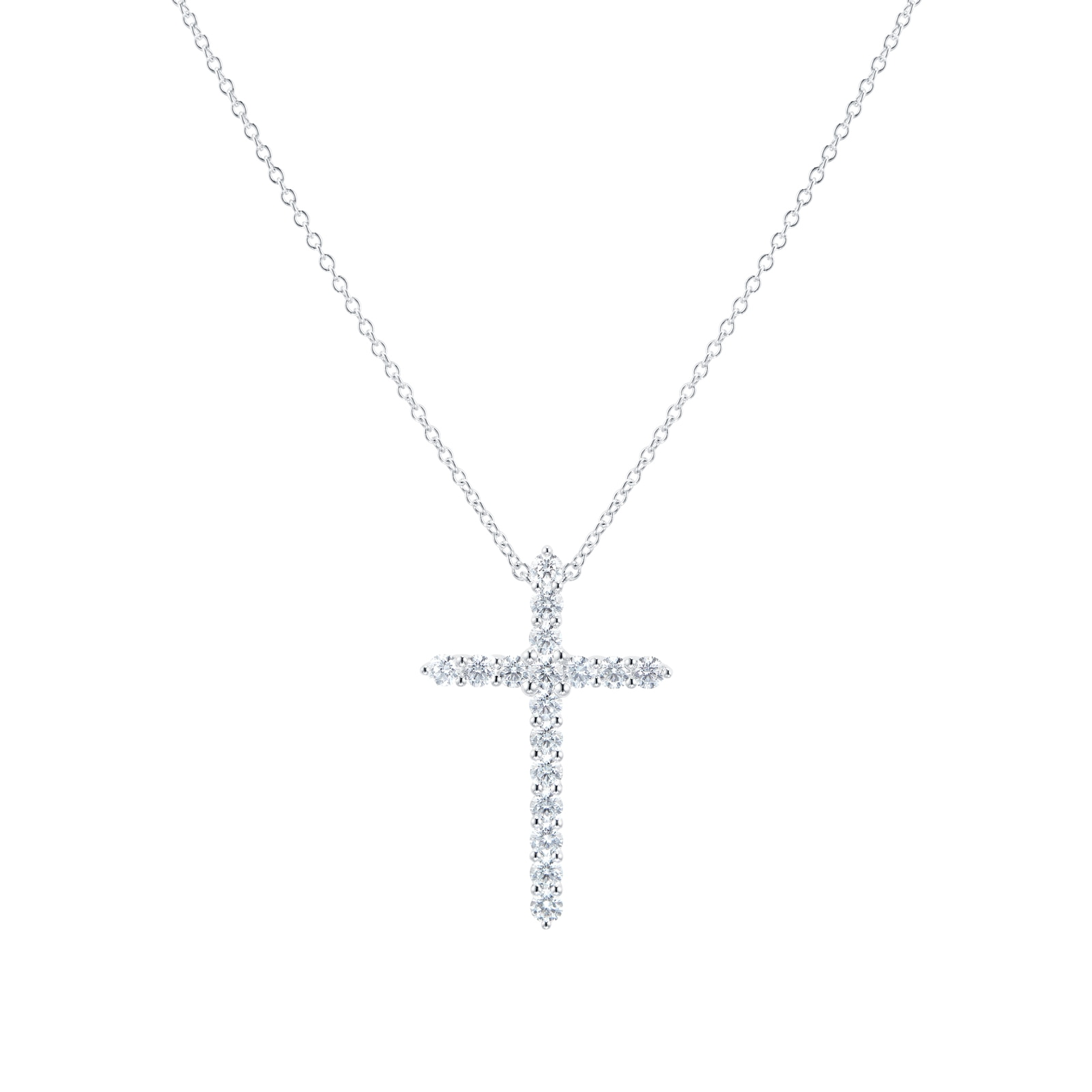 Mayors 18ct White Gold 0.95ct Large Cross Pendant