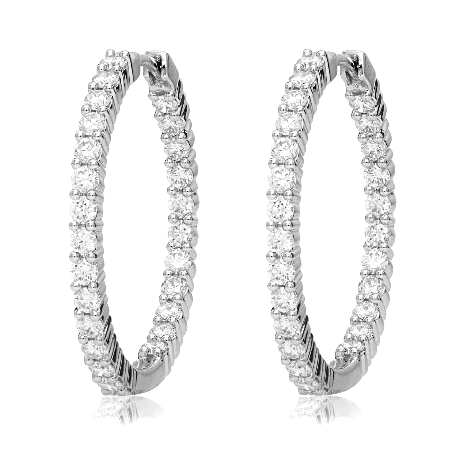Mayors 18ct White Gold 1.00ct Small Hoop Earrings