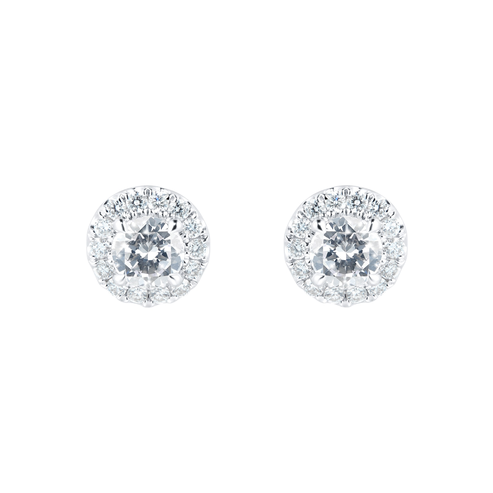 Mayors 18ct White Gold 0.70ct Single Halo Studs
