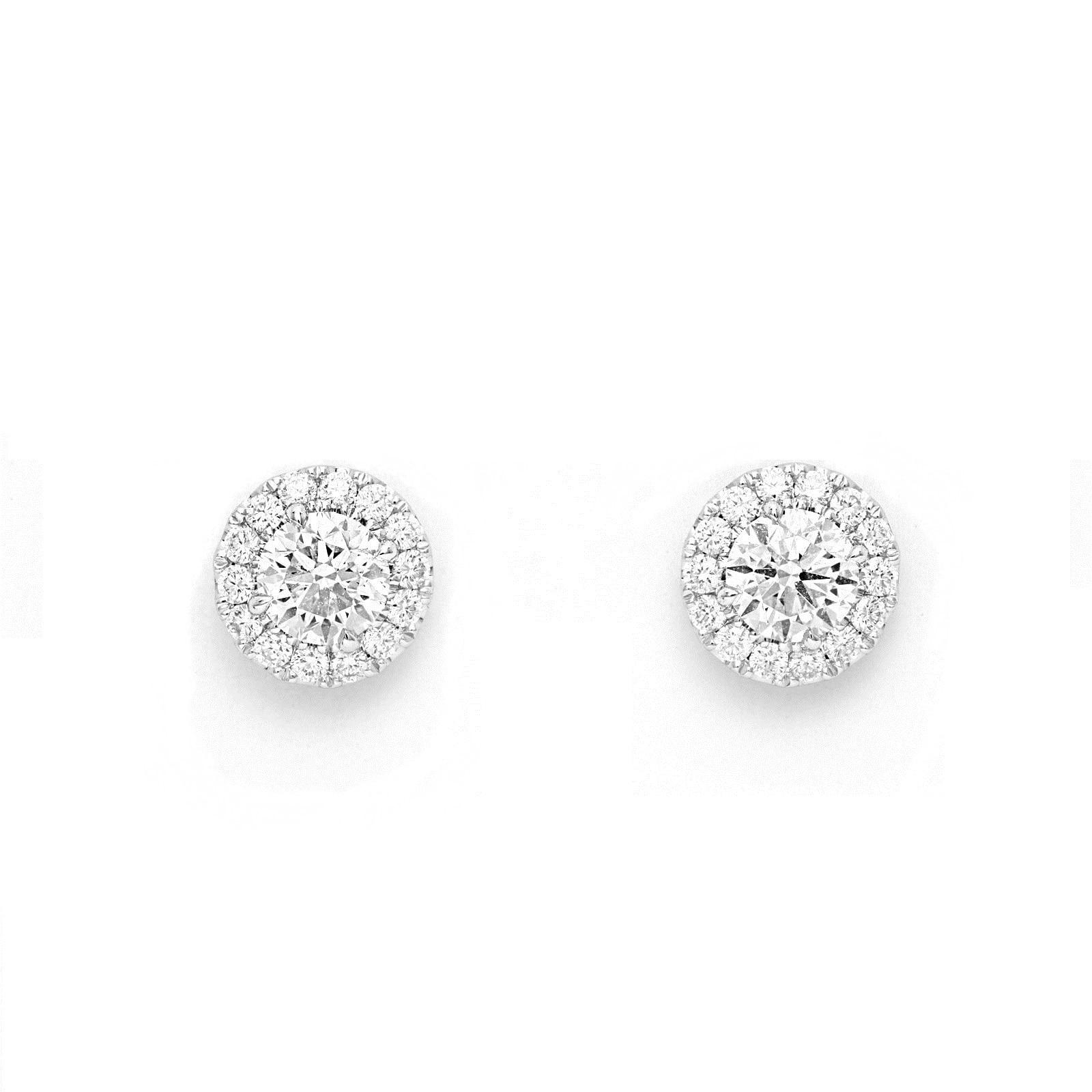 Mayors 18ct White Gold 1.07ct Single Halo Stud Earrings