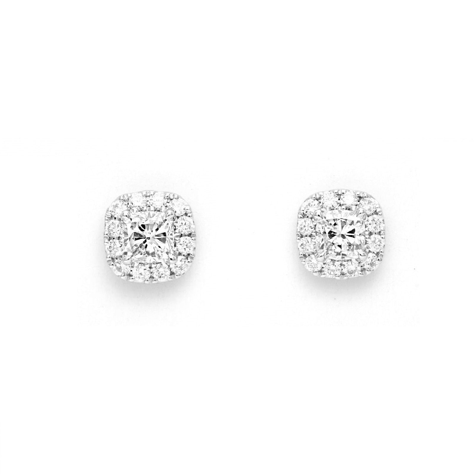 Mayors 18ct White Gold 1.45ct Cushion Single Halo Earrings