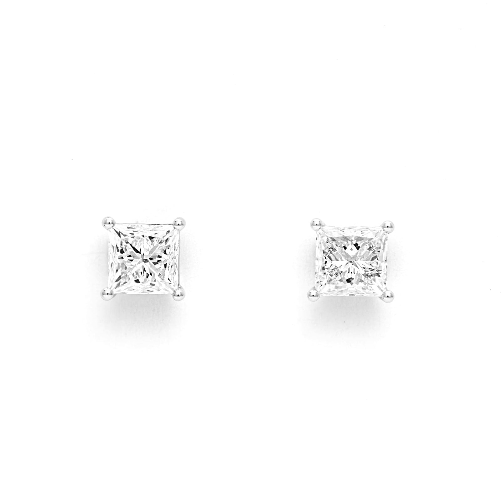 Mayors 18ct White Gold 2.00ct Princess Cut Classic Earrings