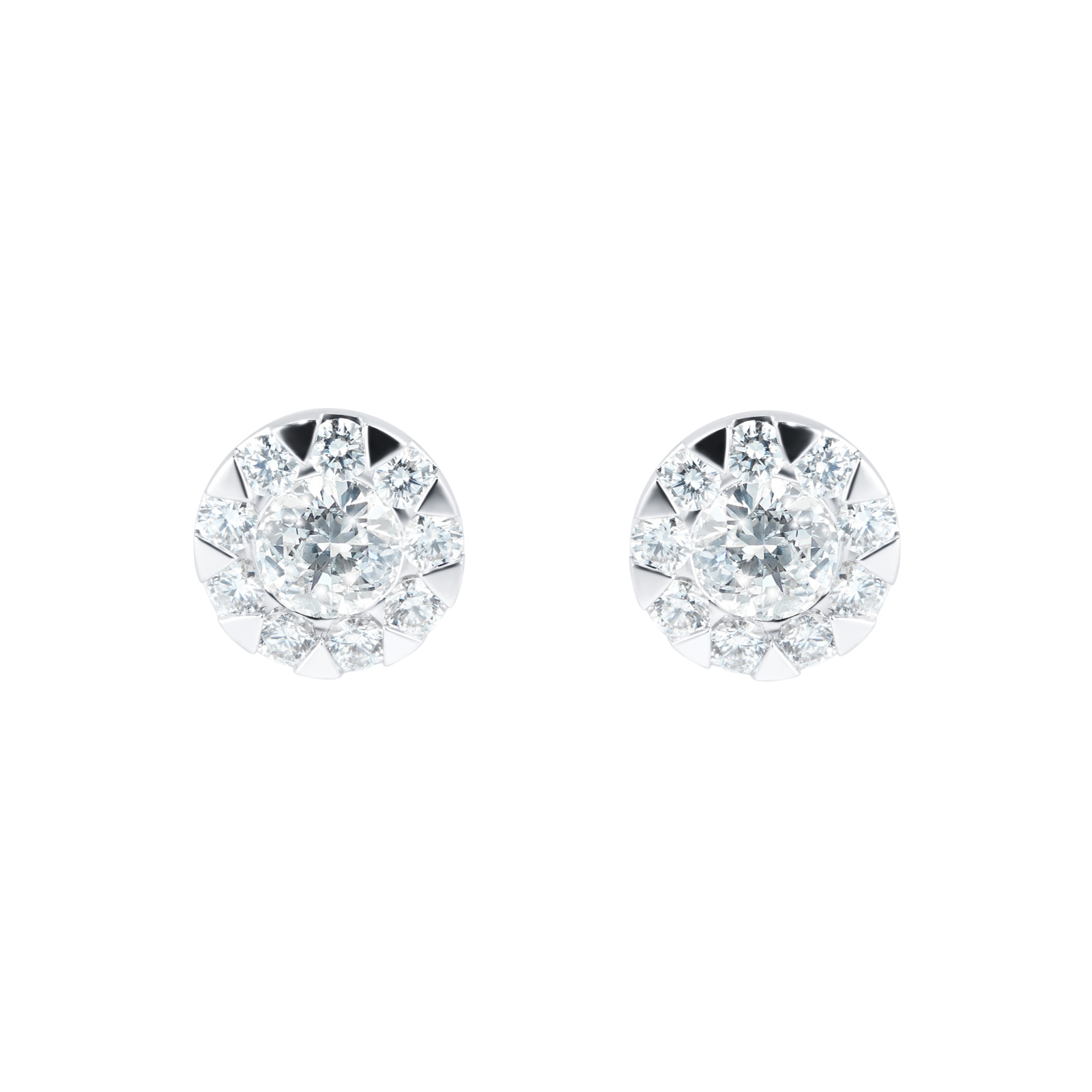 Mayors 18ct White Gold 1.01ct Multistone Earrings