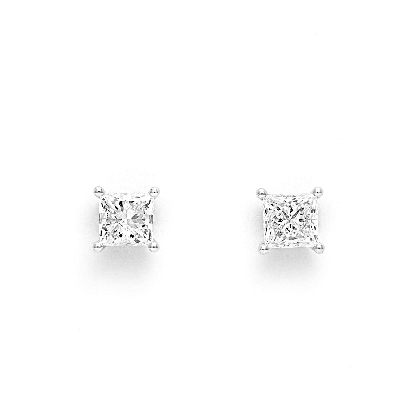 Mayors 18ct White Gold 1.50ct Princess Cut Classic Earrings