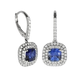 Mappin & Webb 18ct White Gold Diamond & Sapphire Drop Earrings