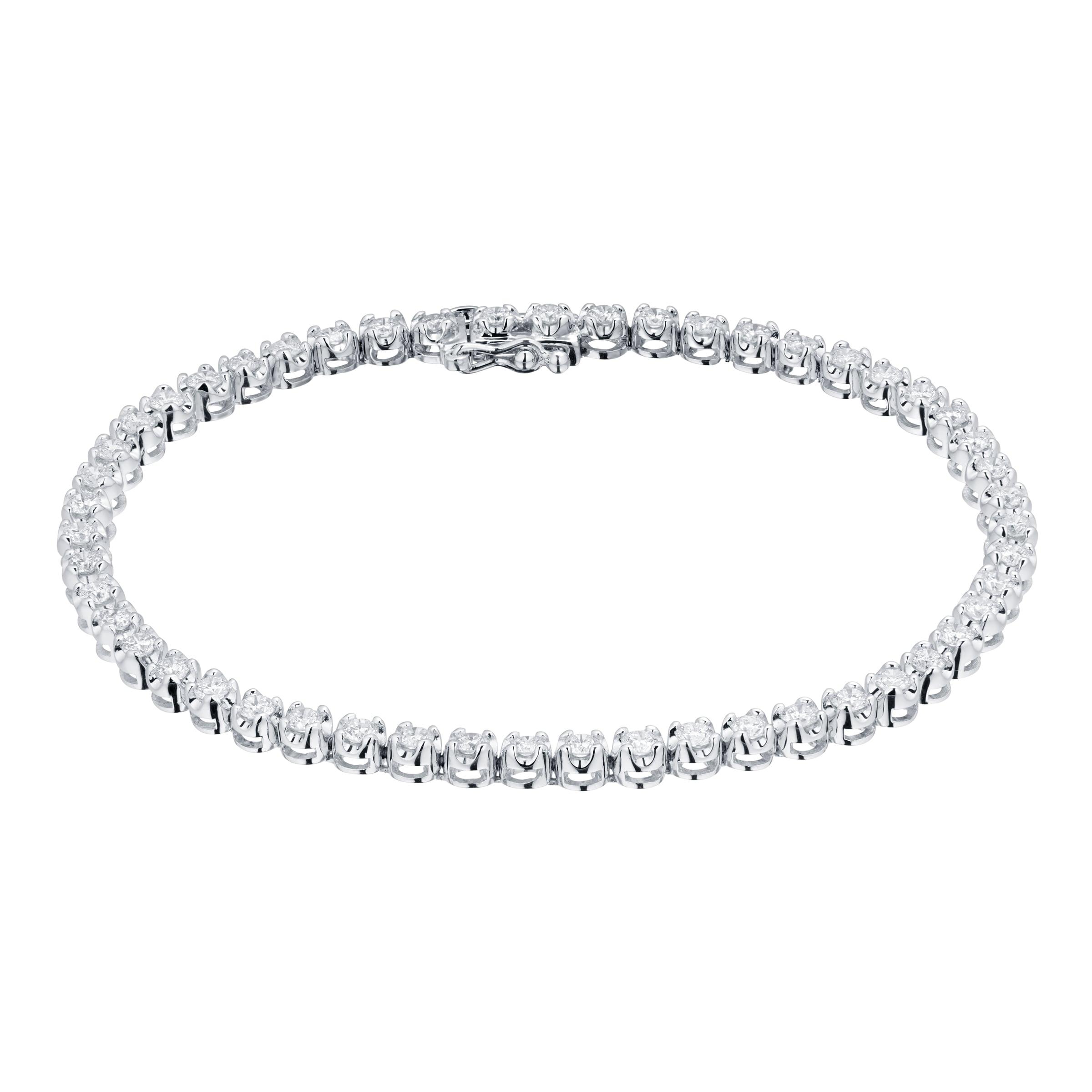 Goldsmiths 9ct White Gold 2.00cttw Diamond Tennis Bracelet