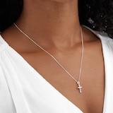 Goldsmiths 9ct White Gold 0.11ct Diamond Cross Pendant