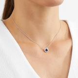 Mappin & Webb Carrington 18ct White Gold 6mm Sapphire and 0.20cttw Diamond Pendant