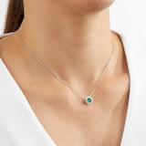 Mappin & Webb Carrington 18ct White Gold 6mm Emerald and 0.20cttw Diamond Pendant