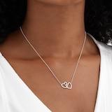 Goldsmiths 9ct White Gold 0.14 Carat Total Weight Diamond Interlocking hearts pendant