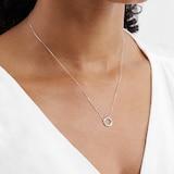Goldsmiths 9ct White Gold 0.04 Carat Total Weight Diamond Circle Pendant