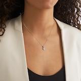 Goldsmiths 9ct White Gold 0.20cttw Diamond Halo Pendant