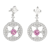 Mappin & Webb Empress 18ct White Gold 0.74cttw Pink Sapphire and Diamond Drop Earrings