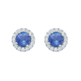 Mappin & Webb Carrington 18ct White Gold 4.34mm Tanzanite and 0.15cttw Diamond Studs
