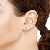 Goldsmiths 9ct White Gold Blue Topaz and White Sapphire Stud Earrings