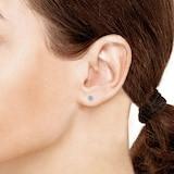 Goldsmiths 9ct White Gold 4x4mm Aquamarine and 0.12cttw Diamond Halo Stud Earrings