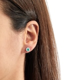 Mappin & Webb Carrington 18ct White Gold 4.34mm Emerald and 0.15cttw Diamond Studs
