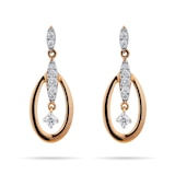 Goldsmiths 9ct Yellow Gold 0.15 Carat Total Weight Diamond Oval Drop Earrings