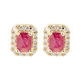 Goldsmiths 9ct Yellow Gold Ruby & Diamond Emerald Cut Halo Studs