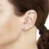 Mappin & Webb Carrington 18ct White Gold Emerald & Diamond Stud Earrings