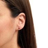 Goldsmiths 9ct Yellow Gold Pear Cut Ruby & Diamond Stud Earrings
