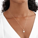Goldsmiths 9ct Yellow Gold Pearl & Crystal Pendant
