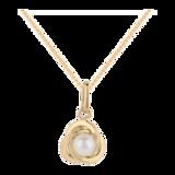 Goldsmiths 9ct Yellow Gold Pearl set Knot Pendant