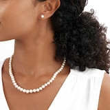 Goldsmiths 9ct White Gold Graduated Pearl Strand and Stud Set