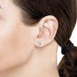 Goldsmiths 9ct 2 Tone Gold Heart Stud Earrings