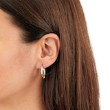 Goldsmiths 9ct 2 Colour Gold Hoop Earrings
