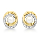 Goldsmiths 9ct Gold Cubic Zirconia and 6mm Pearl Swirl Stud Earrings
