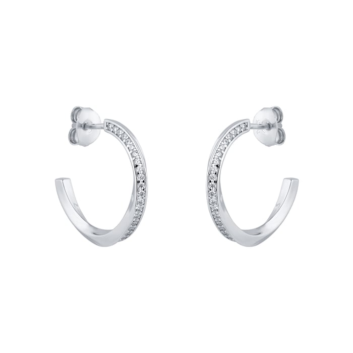 Goldsmiths Silver Twisted Pave Cubic Zirconia Hoop Earrings