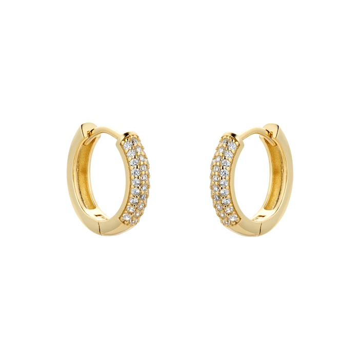 Goldsmiths Yellow Gold Plated Silver Pave Cubic Zirconia Huggie Earrings