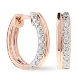 Goldsmiths 9ct Two Colour Gold 0.20ct Diamond Set Hoop Earrings