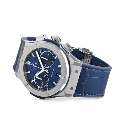 Hublot Classic Fusion Blue Chronograph Titanium 45mm Mens Watch