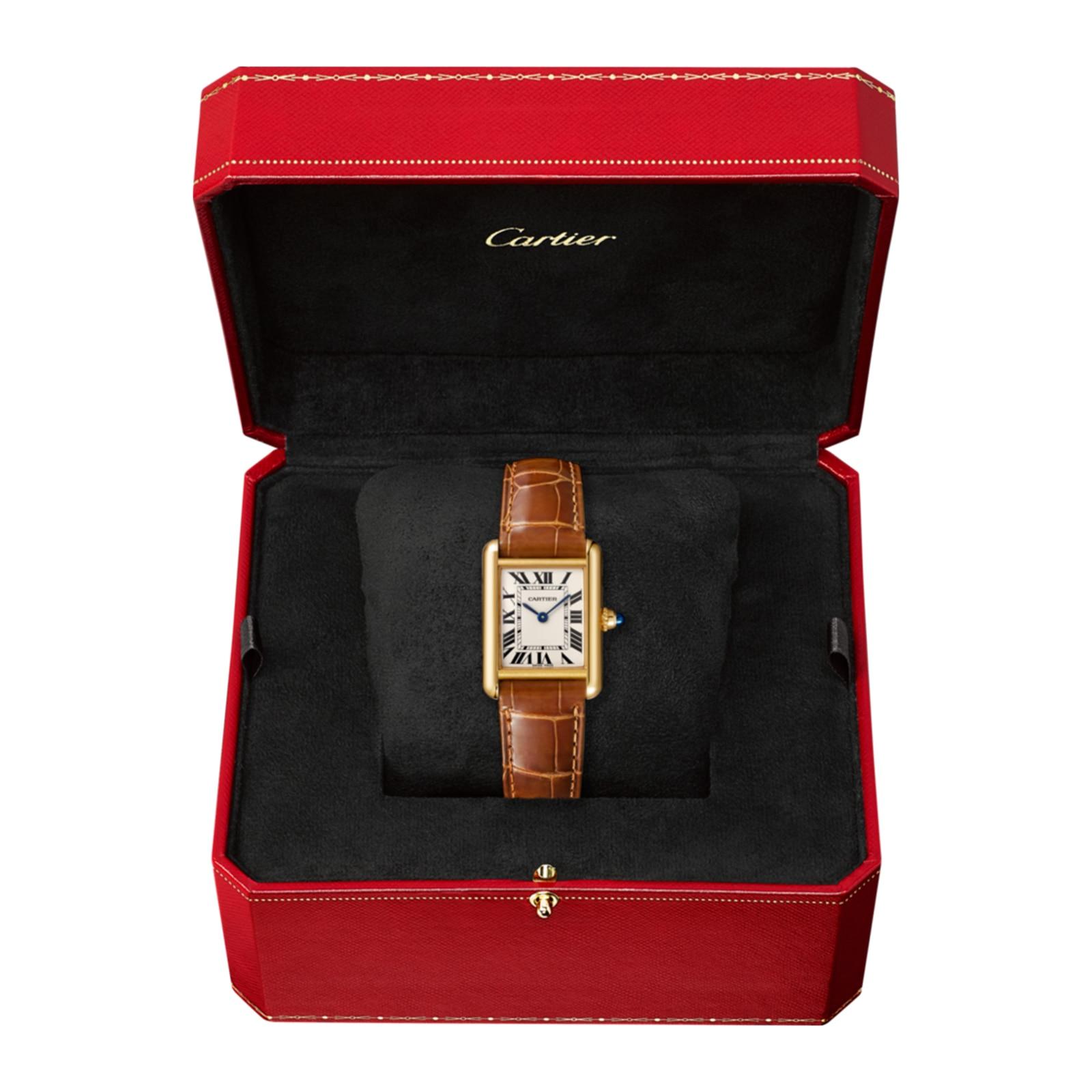 Cartier Tank Louis Cartier watch, Small model, 18K yellow gold, leather, sapphire