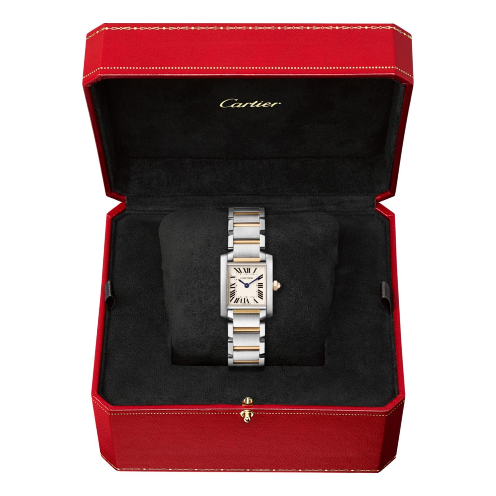 Cartier Tank Française watch, Small model, 18K yellow gold, steel