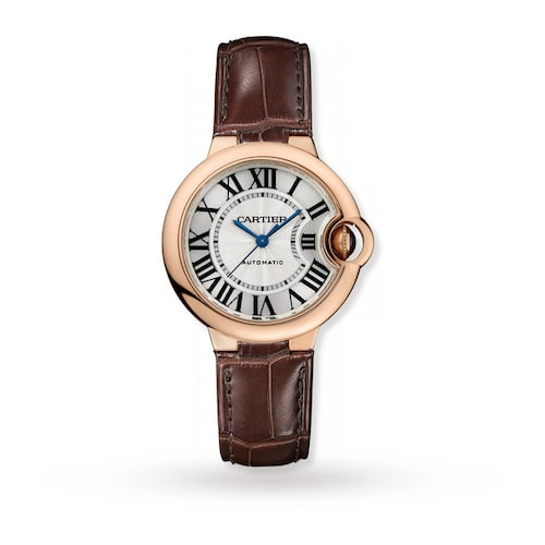 Ballon Bleu de Cartier watch 33 mm, rose gold, leather