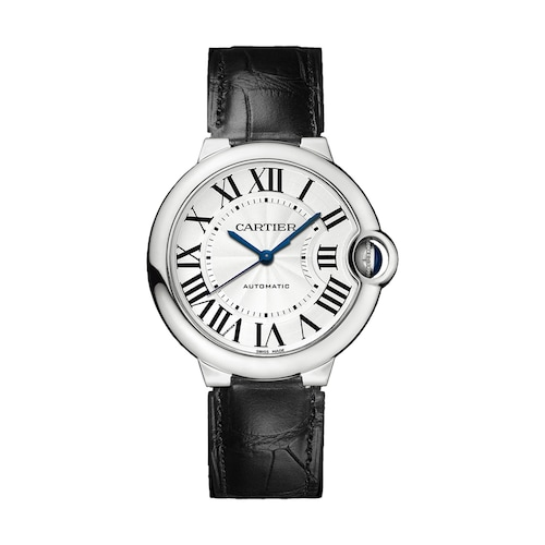 Ballon Bleu de Cartier watch, 36 mm, steel, leather