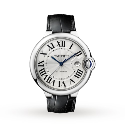 Ballon Bleu de Cartier watch, 42 mm, steel, leather