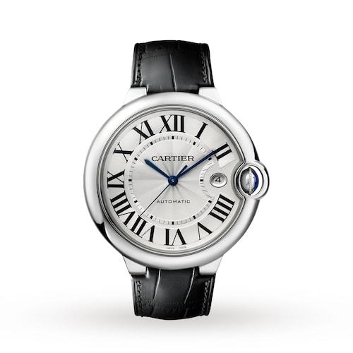 Ballon Bleu de Cartier watch, 42 mm, steel, leather