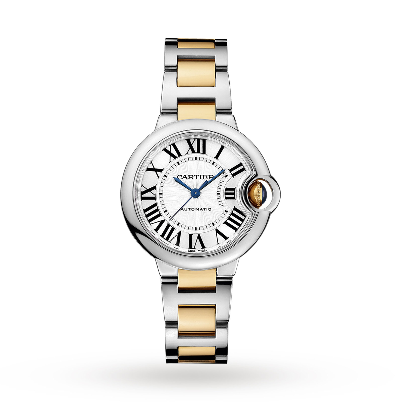 Cartier Ballon Bleu de Cartier watch, 33 mm, 18K yellow gold, steel
