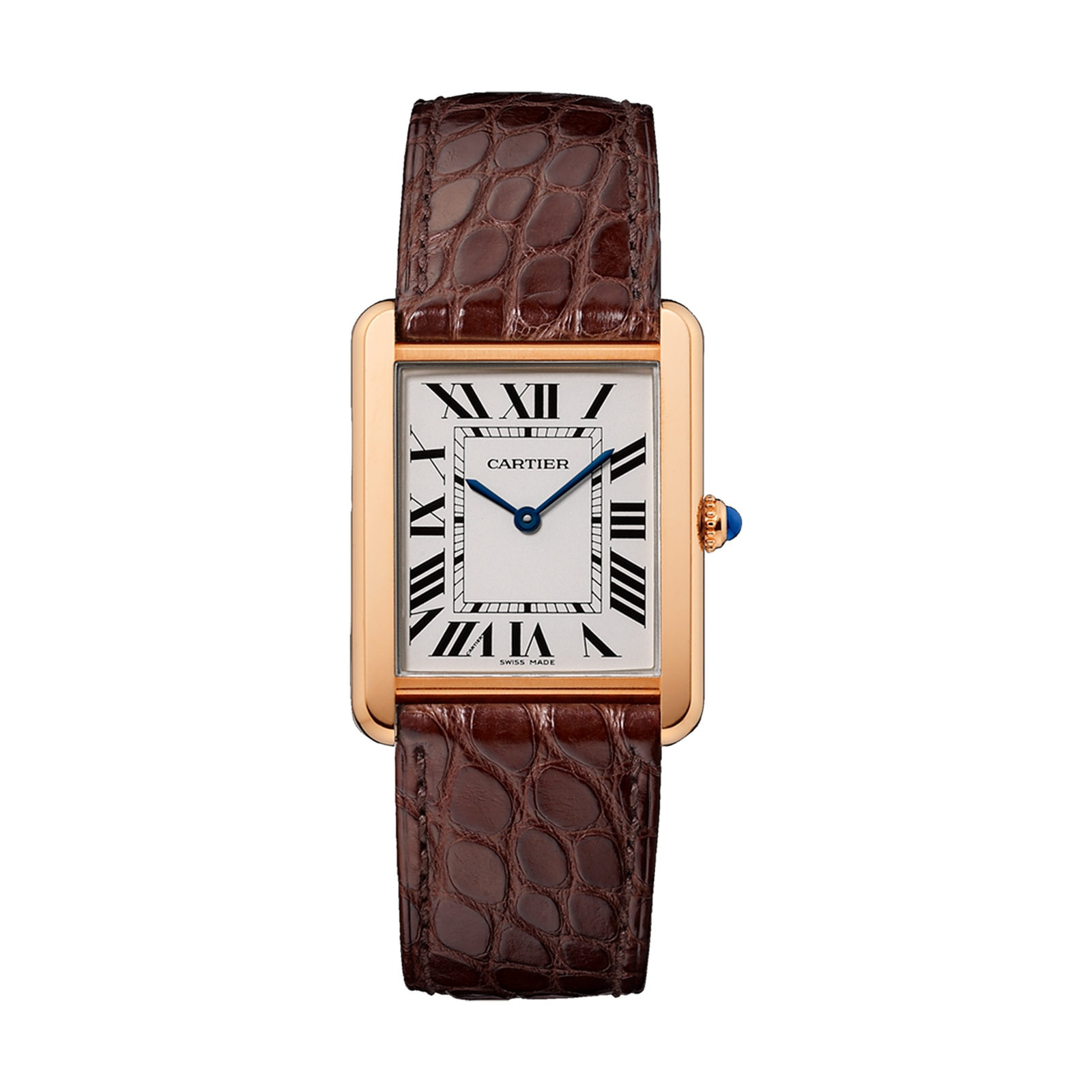 Cartier Tank Solo watch, Large model, 18K rose gold and steel, leather
