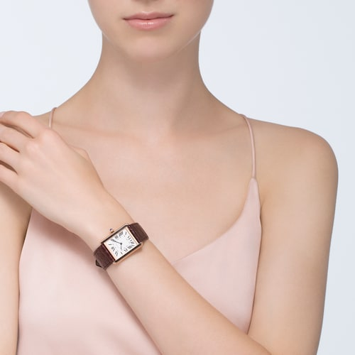Tank Solo watch, Large model, 18K rose gold and steel, leather