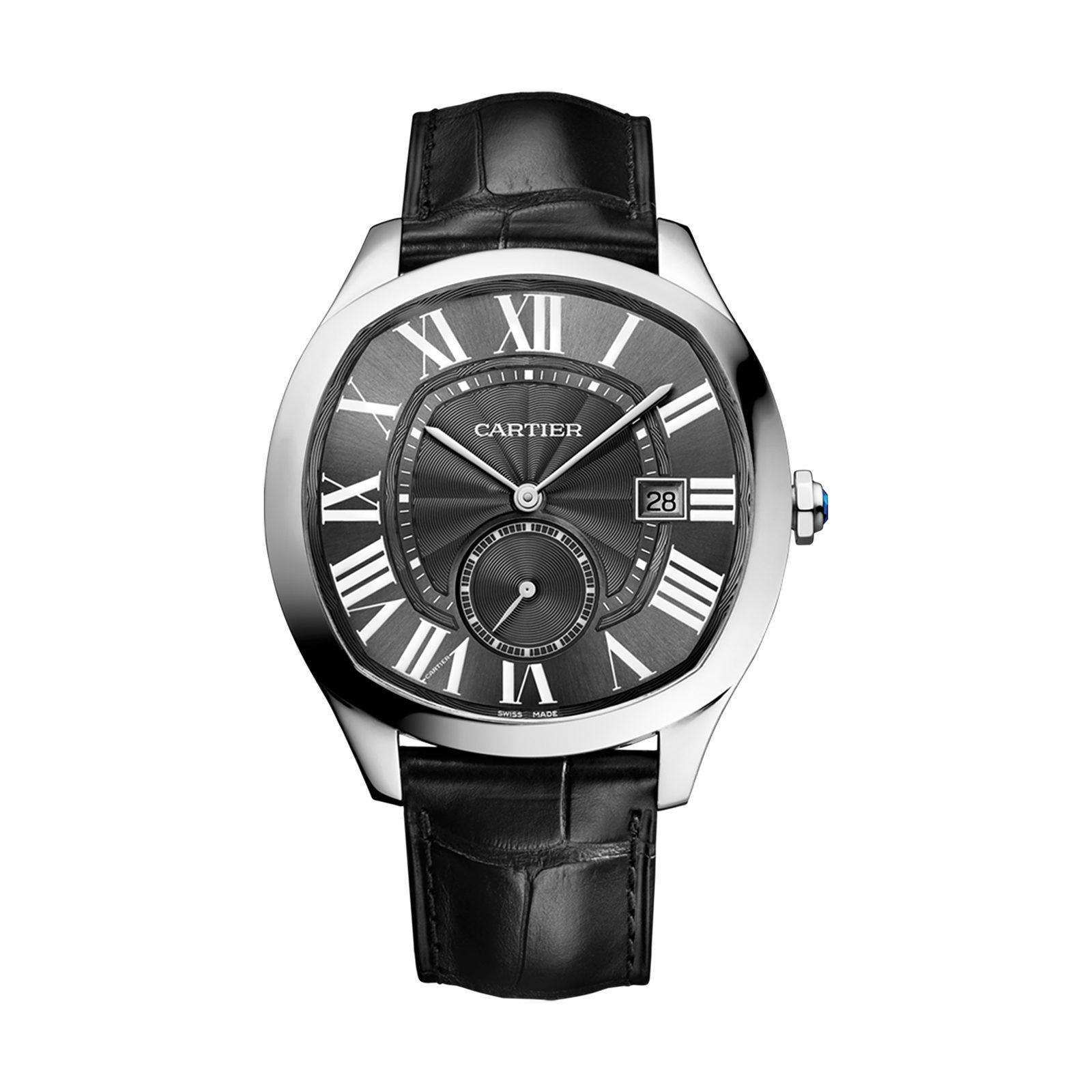 Cartier Drive de Cartier watch, Steel, leather