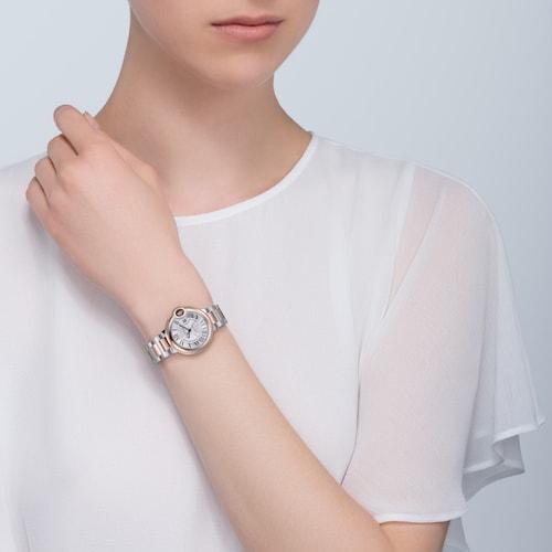 Ballon Bleu de Cartier watch, 33 mm, 18K rose gold, steel