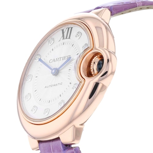Ballon Bleu de Cartier watch 33 mm, rose gold, diamonds, leather