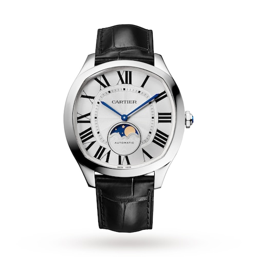 Drive de Cartier Moon Phases watch Steel, leather